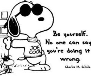 snoopy, quote, and be yourself image
