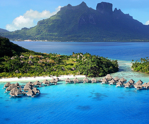 beach, summer, and bora bora image