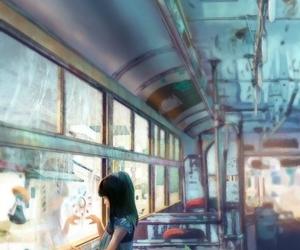 anime, art, and bus image