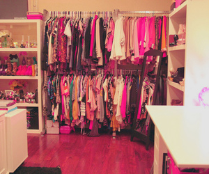 clothes, pink, and closet image