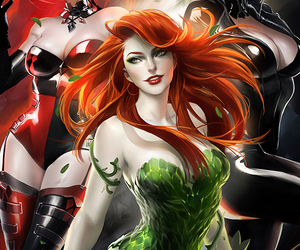harley quinn, poison ivy, and catwoman image