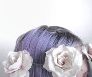 rose, hair, and flowers image