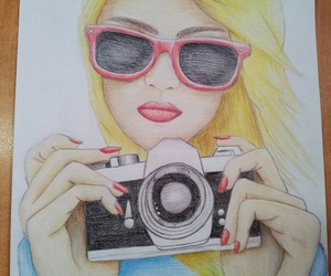 blond, camera, and draw image