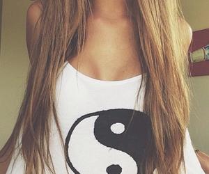 girl, hair, and shirt image