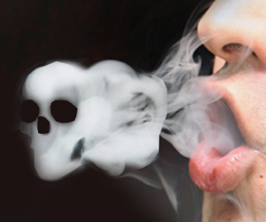 smoke, skull, and black and white image