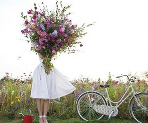 flowers, girl, and bike image