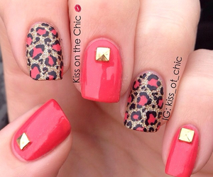 nails, gold, and leopard image