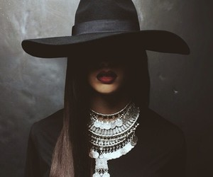 black, lips, and red image