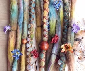 hair, flowers, and dreadlocks image