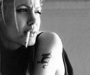 Angelina Jolie, cigarette, and tattoo image