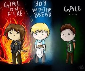 gale, peeta, and katniss image
