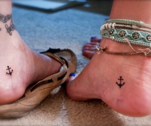 tattoo, anchor, and feet image