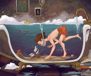 imagination, boy, and water image