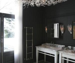bathroom, chandelier, and white image
