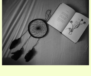 bed, black and white, and dream catcher image