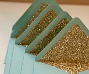 glitter, gold, and envelope image
