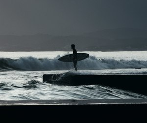 surfing, ocean, and surf image