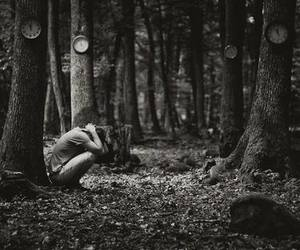alone, forest, and damaged image