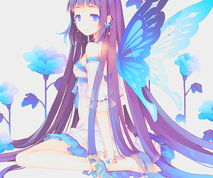 anime girl, anime, and butterfly image