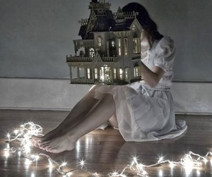 girl, light, and dollhouse image