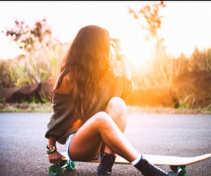 girl, skate, and sun image