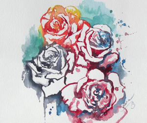 flowers, rose, and watercolor image
