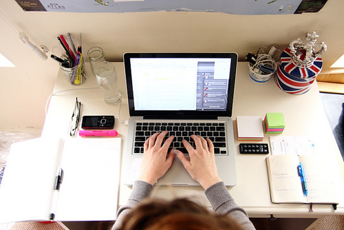 desk, studying, and apple image