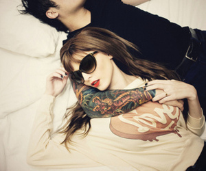 bed, couple, and tattoo image