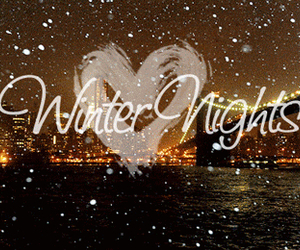 winter, night, and snow image