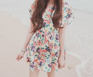 beach, girls, and dress image