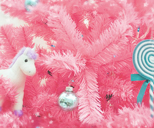 christmas tree, ornaments, and unicorn image