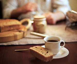 breakfast, bread, and coffee image