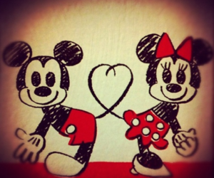 bow, couple, and mickey mouse image
