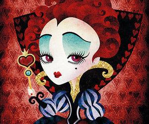 alice in wonderland, Queen, and queen of hearts image