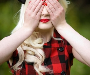 blonde, vintage, and red image