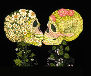skull, flowers, and love image