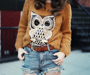 fashion, girl, and owl image
