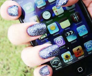 iphone, nails, and glitter image