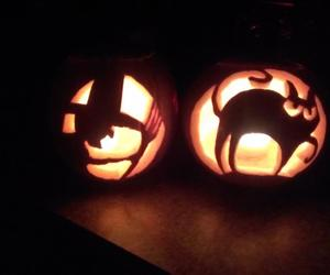 black cat, carving, and Halloween image
