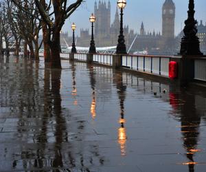 london, rain, and city image