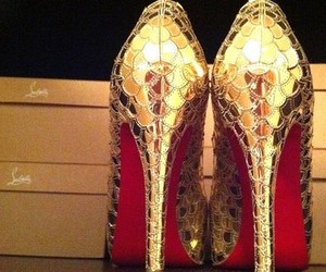 gold, high heels, and shoes image