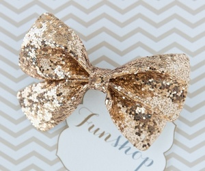 bow, glitter, and gold image