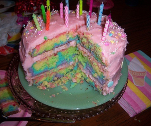 cake, rainbow, and pink image