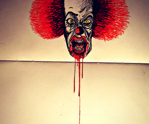 blood, clown, and drawing image