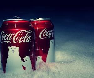 coca cola, snow, and christmas image