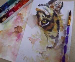 art, paint, and tiger image