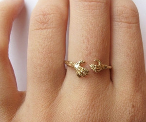 ring, gold, and hand image