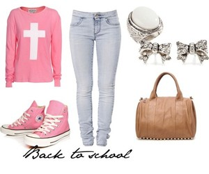 outfit, pink, and school image