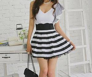accessories, black and white, and dress image