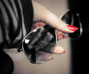 sunglasses, nails, and red image